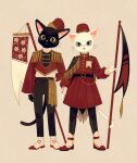 2others :< arm_at_side arm_behind_back banner beige_background belt black_belt black_cat black_pants blue_eyes cat closed_mouth clothing_request commentary_request epaulettes floral_print full_body furry green_eyes hat headwear_request holding ikkaf_sk legs_apart long_sleeves looking_at_viewer multiple_others original pants puffy_long_sleeves puffy_sleeves red_footwear red_headwear rose_print shirt shirt_tucked_in simple_background slit_pupils standing straight-on tareme tongue tongue_out tsurime uniform white_cat white_footwear white_shirt