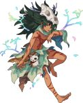 1boy acorn animal_skull artist_request bangs barefoot bodypaint braid branch capelet claws collarbone dark-skinned_male dark_skin eyebrows_visible_through_hair fang full_body green_capelet green_hair hair_over_one_eye hair_tie half-closed_eyes hao_(world_flipper) highres leg_ribbon leg_up loincloth long_hair looking_to_the_side male_focus messy_hair navel non-web_source official_art open_mouth rainbow_gradient red_ribbon ribbon shiny shiny_hair shirtless sidelocks single_braid skull skull_on_head solo stick stitches stomach stuffed_animal stuffed_cat stuffed_toy tied_hair toned toned_male tongue tongue_out torn_clothes transparent_background tribal violet_eyes world_flipper