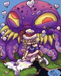 1girl 2others absurdres blonde_hair bubble child doberman dog english_commentary fangs final_fantasy final_fantasy_vi flower grass happy hat heart heart_bubbles highres interceptor_(ff6) monster multiple_others octopus open_mouth orthros outdoors paintbrush pants relm_arrowny seiza short_hair sitting strapless_shirt tarpi_nouche yellow_eyes