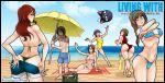 1boy 5girls artur_(living_with_hipstergirl_and_gamergirl) beach beach_towel bikini bishoujo_senshi_sailor_moon black_hair blue_bikini blue_shorts blue_sky breasts breasts_apart brown_hair clara_(living_with_hipstergirl_and_gamergirl) clouds cloudy_sky copyright_name elly_(living_with_hipstergirl_and_gamergirl) erika_(living_with_hipstergirl_and_gamergirl) glasses green_bikini highres horizon jago_dibuja large_breasts living_with_hipstergirl_and_gamergirl luna_(sailor_moon) micro_bikini multiple_girls one-piece_swimsuit outdoors purple_hair red_swimsuit redhead shirt short_sleeves shorts sky sophie_(living_with_hipstergirl_and_gamergirl) swimsuit towel water white_bikini white_shirt yellow_swimsuit