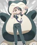 1boy alternate_color backpack bag baseball_cap bracelet brown_hair closed_mouth commentary_request from_below gen_1_pokemon green_headwear green_pants hand_on_headwear hat highres jewelry male_focus outline pants pointing pokemon pokemon_(game) pokemon_sm pumpkinpan red_(pokemon) shirt shoes short_hair short_sleeves snorlax standing t-shirt