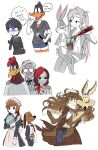 5girls 6+boys black_hair brown_hair bugs_bunny butler closed_mouth colonel_sanders daffy_duck english_text foghorn_leghorn genderswap genderswap_(mtf) glasses grey_hair highres himuhino humanization long_hair looking_at_viewer looney_tunes maid multiple_boys multiple_girls opaque_glasses real_life smile speech_bubble sweat sweating_profusely thought_bubble twintails wile_e_coyote