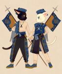 2others banner beige_background beige_sweater black_cat black_pants blue_eyes blue_footwear blue_headwear blue_pants cat closed_mouth clothing_request commentary_request eye_contact full_body furry green_eyes hat headwear_request holding ikkaf_sk legs_apart long_sleeves looking_at_another multiple_others original pants profile simple_background slit_pupils standing tareme tsurime white_cat white_pants
