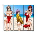 3girls arm_up ass bangs bare_shoulders beach blue_sky breasts brown_jacket closed_eyes clothes_pull collarbone day elly_(living_with_hipstergirl_and_gamergirl) feet_out_of_frame hairband highleg highleg_swimsuit highres holding horizon jacket jago_dibuja large_breasts living_with_hipstergirl_and_gamergirl long_sleeves megan_(living_with_hipstergirl_and_gamergirl) multiple_girls one-piece_swimsuit outdoors purple_hairband red_swimsuit sky smile sonia_(living_with_hipstergirl_and_gamergirl) swimsuit swimsuit_pull