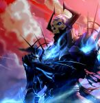 1boy absurdres armor black_armor black_cloak cloak fate/grand_order fate_(series) gauntlets glowing glowing_eyes highres horns king_hassan_(fate) looking_at_viewer male_focus monster_boy planted_sword planted_weapon red_sky skarltano skull skull_mask sky sword weapon