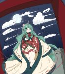 1girl absurdres adapted_costume bangs closed_mouth cloud_print clouds curly_hair eyebrows_visible_through_hair feet_out_of_frame flower full_moon green_eyes green_hair hair_flower hair_ornament heart highres horns japanese_clothes kimono komainu komano_aunn long_hair long_sleeves looking_to_the_side moon night night_sky outdoors pink_flower red_kimono ribbon-trimmed_sleeves ribbon_trim shorts single_horn sky solo standing tatutaniyuuto torii touhou very_long_hair white_shorts wide_sleeves