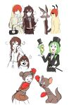 5boys 5girls :d ^_^ ^o^ anger_vein bag belt boxing_gloves brown_hair closed_eyes dog double_bun formal frog genderswap genderswap_(mtf) george_p_dog green_hair hair_over_eyes handbag hat highres himuhino hippety_hopper jacket looney_tunes michigan_j_frog multiple_boys multiple_girls open_mouth personification ralph_wolf redhead sam_sheepdog shirt smile suit sweater thick_eyebrows top_hat white_shirt