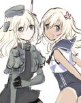 2girls bangs black_neckwear blonde_hair blue_eyes blue_sailor_collar blush cropped_jacket dual_persona eyebrows_visible_through_hair garrison_cap hat highres jacket kantai_collection long_hair looking_at_viewer momosio2f multiple_girls one-hour_drawing_challenge one-piece_swimsuit open_mouth ro-500_(kancolle) sailor_collar simple_background sleeveless swimsuit swimsuit_under_clothes tan tanline u-511_(kancolle) white_background