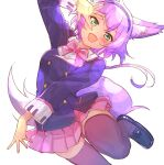 1girl :d animal_ear_fluff animal_ears arm_up bangs black_footwear blazer blush bow collared_shirt dress_shirt eyebrows_visible_through_hair fang green_eyes highres jacket leaning_forward loafers looking_at_viewer nyama open_mouth pink_bow pink_skirt pleated_skirt purple_hair purple_jacket purple_legwear ruhuyu_(show_by_rock!!) school_uniform shirt shoes show_by_rock!! simple_background skirt smile solo standing standing_on_one_leg tail thigh-highs v-shaped_eyebrows white_background white_shirt wolf_ears wolf_girl wolf_tail