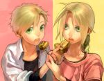 2boys ahoge alphonse_elric bangs black_shirt blonde_hair braid brothers close-up collarbone collared_shirt edward_elric expressionless eyelashes feeding fingernails food fork fullmetal_alchemist hand_up holding holding_food holding_fork long_sleeves looking_at_another looking_at_viewer looking_to_the_side male_focus multiple_boys noako open_clothes open_mouth open_shirt parted_bangs pastry pie pink_background pink_shirt shirt siblings side-by-side simple_background split_screen swept_bangs tareme teeth undershirt upper_body white_shirt yellow_background yellow_eyes