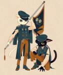 2others :< arm_up banner beige_background black_cat blue_eyes cat closed_mouth clothing_request commentary_request floral_print full_body furry green_eyes green_footwear green_headwear hand_on_ground hand_on_own_knee hat holding ikkaf_sk long_sleeves looking_at_viewer multiple_others one_eye_covered original pants peaked_cap shirt simple_background slit_pupils standing tareme tassel tsurime white_cat white_shirt yellow_pants