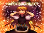 1girl bangs black_dress blonde_hair bow breasts candle chin_coropon closed_eyes commentary_request cookie_(touhou) cowboy_shot dress eyebrows_visible_through_hair fire flame fudge hair_between_eyes hands_on_own_head happy_birthday hat highres kirisame_marisa long_hair medium_breasts open_mouth puffy_short_sleeves puffy_sleeves purple_bow shirt short_sleeves solo star_(symbol) touhou turtleneck uzuki_(cookie) white_shirt witch_hat