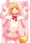 1girl animal_ears animal_hood arknights blonde_hair bow bowtie bunny_hair_ornament character_name commentary cowboy_shot english_commentary eyebrows_visible_through_hair fang hair_ornament hands_up heart heart-shaped_pupils hood hoodie looking_at_viewer multicolored multicolored_eyes open_mouth penguin_logistics_logo pixiv_id red_bow red_eyes rikotch07 short_hair skin_fang solo sora_(arknights) symbol-shaped_pupils tail white_hoodie wolf_ears wolf_girl wolf_tail