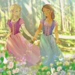 2girls alexa_(barbie) aqua_eyes barbie_(character) barbie_(franchise) barbie_and_the_diamond_castle barbie_movies blonde_hair blue_dress blue_eyes blue_skirt blurry bokeh braid brown_hair bug butterfly corset dark-skinned_female dark_skin depth_of_field dress fallen_tree field flower flower_field forest green_eyes hair_bun hair_flower hair_ornament heart heart_necklace highres holding_hands insect jewelry liana_(barbie) light_rays looking_at_another looking_up matching_outfit medieval multiple_girls nature necklace okitafuji peasant peasant_blouse pink_dress puffy_sleeves purple_dress skirt sunlight teresa_(barbie) tree tree_shade yuri