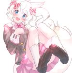 1girl :d animal_ears bangs black_footwear black_jacket blazer blue_eyes blush bow collared_shirt diagonal_stripes eyebrows_visible_through_hair hair_between_eyes hair_bow hands_up head_tilt highres howan_(show_by_rock!!) jacket long_hair nyama open_mouth panties pink_bow pink_skirt pleated_skirt school_uniform shirt shoe_soles shoes short_eyebrows show_by_rock!! side_ponytail simple_background skirt smile socks solo striped tail thick_eyebrows underwear upper_teeth white_background white_hair white_legwear white_panties white_shirt