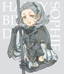 1girl armor fire_emblem fire_emblem_fates gauntlets grey_eyes grey_hair hairband holding holding_lance holding_polearm holding_weapon lance looking_at_viewer open_mouth polearm short_hair shoulder_armor shourou_kanna sophie_(fire_emblem) turtleneck upper_body weapon