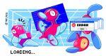 @_@ blue_screen_of_death english_text error error_message frozen gen_1_pokemon gen_2_pokemon gen_4_pokemon glitch highres loading_screen no_humans pokemon pokemon_(creature) porygon porygon-z porygon2 taplaos