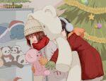 16d 2girls ^_^ amami_haruka beanie black_hair brown_hair christmas closed_eyes coat earmuffs hat hug idolmaster kikuchi_makoto multiple_girls scarf short_hair stuffed_animal stuffed_panda stuffed_squid stuffed_toy teddy_bear yuri