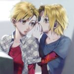 2boys alphonse_elric arms_at_sides backlighting bangs black_shirt blonde_hair blurry blurry_background brothers collarbone covered_mouth cupping_hand depth_of_field edward_elric expressionless fingernails fullmetal_alchemist grey_background grey_shirt hand_up head_tilt layered_sleeves long_sleeves looking_afar looking_at_another looking_to_the_side lower_teeth male_focus multiple_boys noako open_clothes open_shirt parted_lips plaid plaid_shirt profile red_shirt shiny shiny_hair shirt short_over_long_sleeves short_sleeves siblings side-by-side sidelighting simple_background swept_bangs teeth undershirt upper_body whispering yellow_eyes