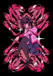 1girl arkestar black_background black_footwear black_legwear blue_skirt crab hand_on_own_cheek hand_on_own_face highres long_hair long_sleeves looking_at_viewer monogatari_(series) naoetsu_high_school_uniform pantyhose pink_eyes puffy_long_sleeves puffy_sleeves purple_hair school_uniform senjougahara_hitagi sitting skirt thigh-highs zettai_ryouiki