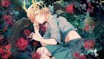 1girl blonde_hair blue_shirt blue_skirt blurry commission depth_of_field dragon_horns fingernails flower highres horns kagari6496 kicchou_yachie lying midriff nail_polish navel on_side otter_spirit_(touhou) outdoors parted_lips red_eyes red_flower red_nails sharp_fingernails shirt short_hair skirt solo spider_lily touhou turtle_shell