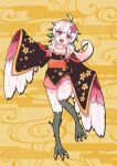 1girl ahoge animal_ears bare_shoulders bird_ears bird_legs blush egasumi eyebrows_visible_through_hair feathered_wings feathers flower hair_flower hair_ornament harpy highres japanese_clothes kimono long_hair monster_girl obi open_mouth original pink_eyes pink_feathers pink_flower pink_hair pink_wings sash sidelocks solo standing standing_on_one_leg stellacean talons white_feathers winged_arms wings yellow_background