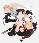 2boys alphonse_elric angel_wings ankle_boots argyle argyle_legwear armband arms_at_sides beige_background belt black_belt black_footwear black_gloves black_shorts black_vest blonde_hair blue_neckwear blue_shirt boots brothers circle closed_mouth collared_shirt demon_horns demon_tail demon_wings edward_elric facing_viewer feathered_wings feet_up floating full_body fullmetal_alchemist gloves gun handgun holding holding_gun holding_weapon holster horns leather leather_gloves looking_to_the_side multiple_boys necktie oxfords p0ckylo pink_neckwear pistol pitchfork red_shirt rotational_symmetry shin_strap shirt shoe_soles shoes short_shorts shorts shoulder_holster siblings simple_background skindentation sock_garters socks spiked_boots spikes striped striped_neckwear striped_shirt suspenders tail tareme thigh_holster thighs two-tone_background vest weapon white_background white_legwear white_wings wings yellow_eyes