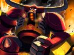 1boy armor clenched_hand commentary_request debris fire glowing glowing_eyes horns looking_at_viewer male_focus mega_man_(series) mega_man_star_force napo orange_eyes ox_horns shoulder_armor smoke solo sparks spikes taurus_fire_(mega_man)