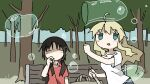 2girls :d ahoge aqua_eyes arm_at_side arm_up bag bag_removed bangs bench blonde_hair brown_hair bubble bubble_blowing bubble_pipe bubble_wand chito_(shoujo_shuumatsu_ryokou) closed_eyes closed_mouth collared_shirt day eyebrows_visible_through_hair facing_viewer from_side hand_up highres holding jitome long_hair looking_at_viewer looking_to_the_side low_twintails multiple_girls no_nose on_bench open_mouth outdoors park_bench parted_bangs polo_shirt red_shirt shirt short_sleeves shoujo_shuumatsu_ryokou sidelocks sitting sitting_on_bench smile soap_bubbles straight-on tree tree_shade tsukumizu_yuu twintails upper_body wavy_hair white_shirt wing_collar yuuri_(shoujo_shuumatsu_ryokou)