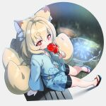 1girl aerial_fireworks animal_ear_fluff animal_ears arm_support bangs bike_shorts black_footwear black_shorts blonde_hair blue_kimono blurry blurry_background blush brown_eyes candy_apple commentary_request depth_of_field eating eyebrows_visible_through_hair fireworks food fox_ears fox_girl fox_tail full_body hair_between_eyes highres holding holding_food indie_virtual_youtuber japanese_clothes kamiya_ris kimono kitsune kuro_kosyou long_sleeves puddle reflection short_eyebrows short_shorts shorts solo tail thick_eyebrows virtual_youtuber water wide_sleeves zouri