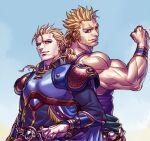 2boys armor back-to-back belt biceps blonde_hair bracer breastplate brothers closed_mouth earrings edgar_roni_figaro final_fantasy final_fantasy_vi hair_ribbon jewelry kagelow king long_hair looking_at_viewer male_focus mash_rene_figaro monk multiple_boys muscular muscular_male pauldrons ponytail ribbon royal short_hair shoulder_armor siblings simple_background smile spiky_hair tank_top twins vambraces