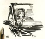 1girl bangs blush breasts car driving ground_vehicle highres hiro_(dismaless) long_hair long_sleeves motor_vehicle open_mouth original photo_(medium) seat signature simple_background sitting solo steering_wheel sweater tears traditional_media