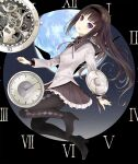 1girl akasaka_aka akemi_homura analog_clock argyle argyle_legwear arms_at_sides black_background black_hair black_hairband black_legwear breasts capelet clock commentary_request dot_nose expressionless eyebrows_visible_through_hair feet_up frilled_skirt frills full_body gears grey_capelet grey_ribbon grey_skirt hairband head_tilt light_blush long_hair long_sleeves looking_at_viewer mahou_shoujo_madoka_magica neck_ribbon pantyhose parted_lips pleated_skirt ribbon roman_numeral shield simple_background skirt small_breasts solo teeth upper_teeth violet_eyes wavy_hair