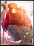 1boy blue_eyes cherry_blossoms closed_mouth crossed_arms grey_hakama hakama himura_kenshin holding holding_sword holding_weapon japanese_clothes kimono kuo_tasuku long_hair looking_at_viewer low_ponytail male_focus one_knee orange_hair red_kimono rurouni_kenshin scar scar_on_cheek scar_on_face sheath sheathed shiny shiny_hair smile solo sword weapon
