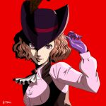 1girl :d ascot brown_feathers gloves hat hat_feather hayatetsujimoto highres lips long_sleeves looking_at_viewer okumura_haru open_mouth persona persona_5 pink_shirt purple_gloves purple_headwear red_background shirt simple_background smile solo upper_body violet_eyes white_neckwear