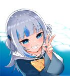 1girl blue_eyes blue_hair blue_nails collarbone commentary_request gawr_gura grin hair_ornament highres hololive hololive_english hood hoodie multicolored_hair shark_hair_ornament sharp_teeth silver_hair smile solo streaked_hair teeth two-tone_hair two_side_up upper_body v virtual_youtuber yuu201023