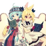 2girls @_@ ahoge ainu_clothes animal_ear_fluff animal_ears blue_eyes blue_hair blue_headband blue_ribbon blush book character_request closed_mouth commentary_request couch dress frilled_dress frills gloves hair_ribbon headband highres holding holding_book indie_virtual_youtuber long_hair long_sleeves looking_at_viewer mamyouda multiple_girls nose_blush on_couch open_book parted_lips purple_gloves ribbon simple_background sitting smile sweat tail twintails violet_eyes virtual_youtuber white_background white_dress wide_sleeves