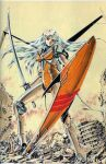 1girl ariel_(mecha) ariel_(novel) breasts floating_hair holding holding_shield long_hair mecha mechanical_wings no_humans novel_illustration official_art parted_lips red_eyes rubble science_fiction shield silver_hair small_breasts solo standing suzuki_masahisa wings