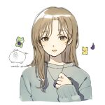 1girl artist_logo artist_name brown_eyes brown_hair earrings eggplant grey_sweater hand_up highres jewelry long_hair long_sleeves looking_at_viewer necklace original parted_lips simple_background sleeves_past_wrists solo sweater symbol-only_commentary upper_body wandu_muk white_background