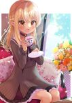 1girl :d black_choker blonde_hair blush bouquet braid brown_eyes chocomarybadend choker couch cup dark-skinned_female dark_skin dress elf flower flower_pot french_braid grey_dress half_updo holding holding_cup hololive jewelry kintsuba_(shiranui_flare) long_hair multicolored_hair on_couch open_mouth pendant pinstripe_dress pinstripe_pattern pointy_ears sailor_dress shiranui_flare sitting sleeveless sleeveless_dress smile solo streaked_hair striped teacup virtual_youtuber