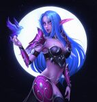 1girl absurdres alisa_nilsen bird blue_hair boobplate closed_mouth colored_skin commission cowboy_shot diadem elf elunia_(warcraft) facial_mark full_moon hand_up highres long_eyebrows long_hair long_pointy_ears moon navel night_elf pink_skin pointy_ears smile solo standing thigh-highs toned warcraft world_of_warcraft