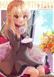 1girl :d black_choker blonde_hair blush bouquet braid brown_eyes character_name chocomarybadend choker couch cup dark-skinned_female dark_skin dress elf flower flower_pot french_braid grey_dress half_updo happy_birthday holding holding_cup hololive jewelry kintsuba_(shiranui_flare) long_hair multicolored_hair on_couch open_mouth pendant pinstripe_dress pinstripe_pattern pointy_ears sailor_dress shiranui_flare sitting sleeveless sleeveless_dress smile solo streaked_hair striped teacup virtual_youtuber