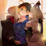 3girls absurdres ahoge artoria_pendragon_(all) bangs bare_shoulders baseball_cap black_headwear black_shirt blonde_hair blue_jacket blue_scarf blush braid breasts closed_mouth fate/grand_order fate_(series) french_braid glasses green_eyes hair_between_eyes hair_bun hat highres hood hooded_jacket huge_filesize jacket long_hair long_sleeves looking_at_another looking_to_the_side medium_breasts multiple_girls mysterious_heroine_x_(alter)_(fate) mysterious_heroine_x_(fate) mysterious_idol_x_(alter)_(fate) off_shoulder plaid plaid_scarf ponytail purple_jacket red_scarf rojiura_satsuki:_chapter_heroine_sanctuary scarf shirt sidelocks small_breasts suppa_(hagakuresuppa) wavy_mouth white_jacket yellow_eyes