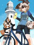 2girls absurdres alternate_costume animal_ears arms_up bangs bicycle bicycle_helmet bike_jersey bike_shorts biker_clothes bikesuit black_hair brown_eyes brown_hair closed_mouth contemporary day eyebrows_visible_through_hair feet_out_of_frame floating_hair gloves greater_roadrunner_(kemono_friends) grey_hair ground_vehicle hair_between_eyes hair_tubes hand_up helmet highres holding horizontal_pupils horns iwa_(iwafish) jacket kemono_friends layered_sleeves light_smile lighthouse long_sleeves looking_at_viewer medium_hair multicolored_hair multiple_girls no_tail open_mouth outdoors pronghorn_(kemono_friends) red_eyes short_over_long_sleeves short_sleeves sky standing sweatshirt white_hair wind zipper zipper_pull_tab