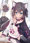 >_< 1girl :d :p animal animal_ear_fluff animal_ear_legwear animal_ears bangs black_cat black_hair black_hoodie black_legwear blue_eyes blurry blurry_background blush cat cat_ear_legwear cat_ears cat_girl cat_tail closed_eyes closed_mouth collar commentary_request depth_of_field dotted_line eyebrows_visible_through_hair fang hair_between_eyes hood hood_down hoodie leash long_sleeves multicolored_hair notice_lines open_mouth original puffy_long_sleeves puffy_sleeves red_collar redhead revision shirokitsune sleeves_past_wrists smile solo_focus straddling streaked_hair tail thigh-highs tongue tongue_out white_hoodie xd