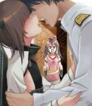 1boy 2girls admiral_(kancolle) alexzhang apron brown_hair flat_chest grey_hair headband headgear heart heart_print high_ponytail highres japanese_clothes kantai_collection long_hair long_sleeves military military_uniform multiple_girls muneate naval_uniform omelet pink_apron plate taihou_(kancolle) tamagoyaki uniform zuihou_(kancolle)