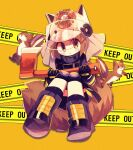 1girl :< animal_ears animal_ears_helmet arknights axe black_footwear black_gloves blush_stickers boots brown_hair caution_tape fire_axe firefighter gloves helmet highres holding holding_axe looking_at_viewer shaw_(arknights) short_hair solo squirrel squirrel_ears squirrel_tail stylishtrash tail visor