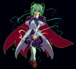 1girl antennae bangs black_background black_cape black_pants brown_footwear cape center_frills contrapposto dress frills full_body green_eyes green_hair juliet_sleeves long_sleeves looking_at_viewer mmmmatimmmmati open_mouth pants puffy_sleeves short_hair simple_background solo standing touhou white_dress white_legwear wriggle_nightbug
