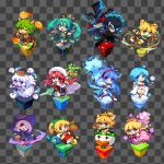 1boy 6+girls amamiya_ren animal_ears arsene_(persona_5) black_hair black_jacket black_skirt black_sleeves blonde_hair blue_fire blue_hair blue_skin boo bowsette bracelet braid character_request chibi collared_shirt colored_skin copyright_request detached_sleeves dress fire floating_hair furry ghost green_hair grey_shirt grey_skin gun hair_between_eyes hair_over_one_eye handgun hatsune_miku holding holding_gun holding_weapon jacket jewelry koopa_clown_car little_witch_academia super_mario_bros. mask multiple_girls new_super_mario_bros._u_deluxe obi one_eye_covered open_mouth peachette persona persona_5 pink_dress pink_hair pistol pixel_art ponytail princess_king_boo redhead sash shirosu shirt skirt sleeveless sleeveless_shirt smirk spiked_bracelet spikes sucy_manbavaran super_crown tied_hair toadette twin_braids twintails violet_eyes weapon white_hair witch yuki_onna