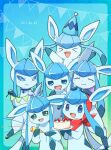 >_< :d alopias blue_choker blue_eyes blush cake candle choker closed_eyes closed_mouth commentary_request confetti dated fire flame food gen_4_pokemon glaceon happy hat hatted_pokemon holding holding_tray looking_at_viewer mouth_drool no_humans open_mouth party_popper plate pokemon pokemon_(creature) repost_notice smile tongue tray